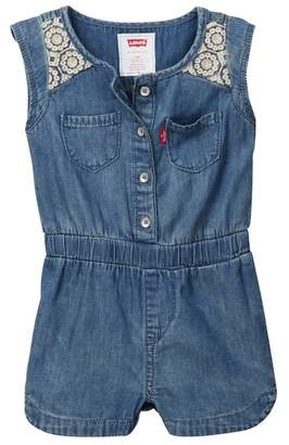 Levi's Embroidered Romper (Baby Girls)