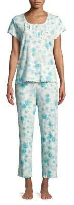 Miss Elaine Two-Piece Floral Ruffle Trim Pajama Set