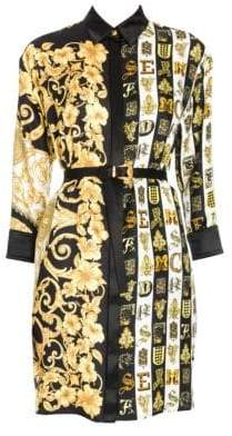 Versace Hibiscus Print Belted Shirtdress Tunic
