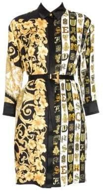 Versace Women's Hibiscus Print Belted Shirtdress Tunic - Black Gold - Size 44 (8)