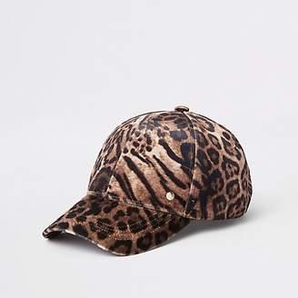 1682d83deed River Island Brown leopard print baseball cap