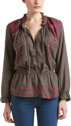 Piper Anik Embroidered Linen-Blend Top