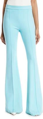 Rosetta Getty Pintuck Skinny Flared-Leg Interlock Jersey Pants
