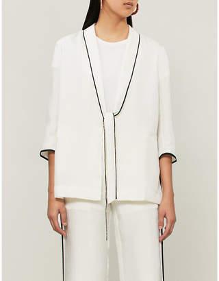 Mo&Co. Contrast-trim crepe jacket