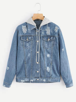 Shein Ripped Detachable Hooded Denim Jacket