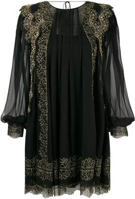 Alberta Ferretti lace trim chiffon mini dress