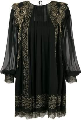Alberta Ferretti lace trim chiffon mini dress