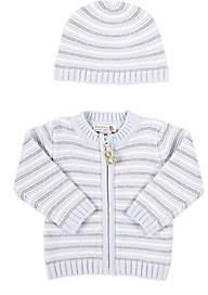 Barneys New York Infants' Striped Cardigan & Hat-Blue