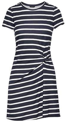 Banana Republic Stripe Soft Ponte Twist-Front Dress