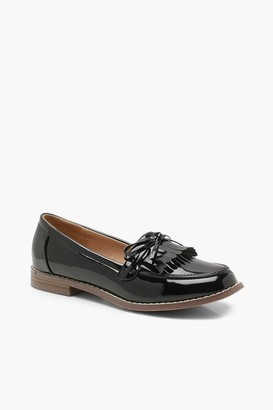 boohoo Bow and Fringe Loafers