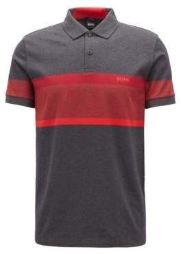 BOSS Hugo Slim-fit polo shirt color-block stripes L Charcoal