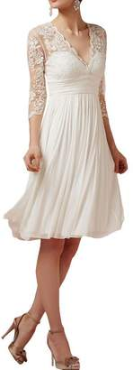 Angel Bride A Line V Neck Sheer 3/4 Sleeves Wedding Prom Dress Knee Length- US
