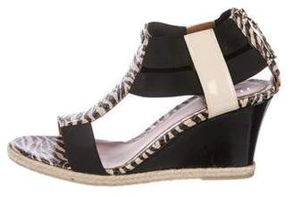 Fendi T-Strap Wedge Sandals
