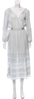 LoveShackFancy Long Sleeve Crochet-Accented Maxi Dress