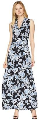 Vince Camuto Woodblock Floral Halter Maxi Dress Women's Dress