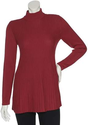 Joan Rivers Classics Collection Joan Rivers Mock Turtleneck Pleated Swing Tunic