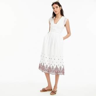 J.Crew Petite Point Sur embroidered flutter-sleeve midi dress