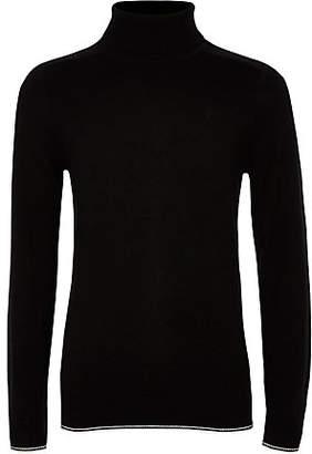 River Island Boys black RI roll neck tipped sweater