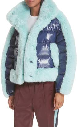 Opening Ceremony Faux Fur Trim Down Puffer Coat