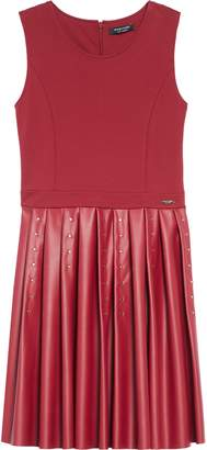 Marciano Studded Ponte & Faux Leather Dress