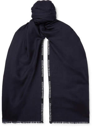 Alexander McQueen Logo-embroidered Cashmere And Silk-blend Jacquard Scarf - Midnight blue