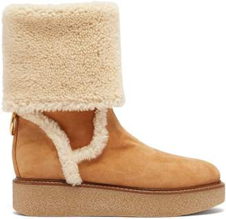 Salvatore Ferragamo Bonne Shearling And Suede Boots - Womens - Tan