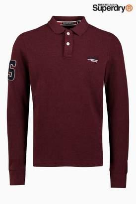 Next Mens Superdry Classic Long Sleeve Pique Poloshirt