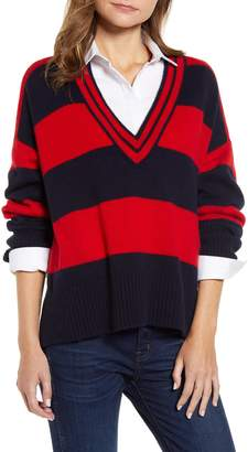 Tommy Hilfiger V-Neck Stripe Sweater