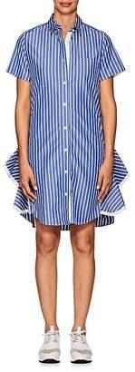 Sacai Women's Side-Zip Striped Poplin Shirtdress