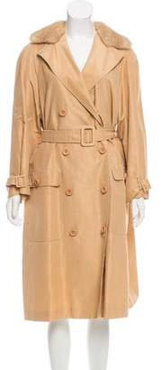 Agnona Fur-Trimmed Double-Breasted Coat