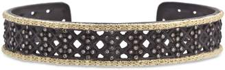 Armenta 18K Yellow Gold and Blackened Sterling Silver Old World Cravelli Champagne Diamond Carved Cuff