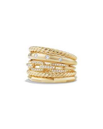 David Yurman Stax 18k Gold Wide Ring with Diamonds, Size 7 $3,900 thestylecure.com