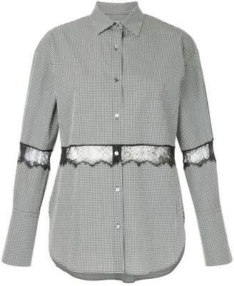 Le Ciel Bleu lace insert gingham shirt