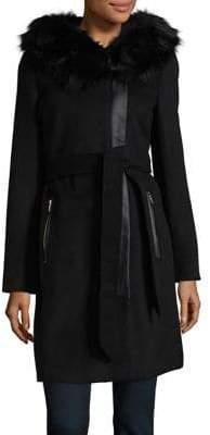 Karl Lagerfeld Paris Faux Fur Wrap Coat