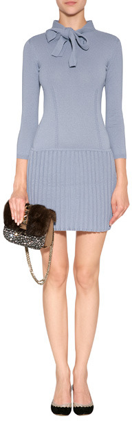 Moschino Wool Tie Neck Dress with Pleated Skirt