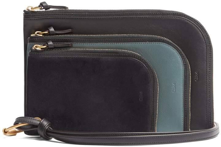 CHLOÉ Multi-pouch leather wristlet purse