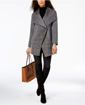 T Tahari Asymmetrical Oversize-Collar Coat