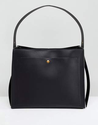 Asos DESIGN Clean Single Strap Tote With Old Gold Metal Work