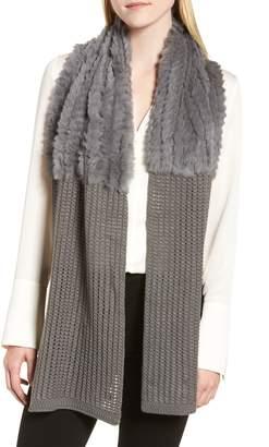 La Fiorentina Genuine Rabbit Fur & Acrylic Knit Scarf