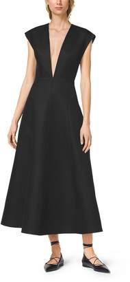 Michael Kors Silk and Wool Mikado Plunge Dress