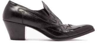 Saint Laurent Finn Western Leather Loafers - Mens - Black