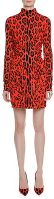 Tom Ford Long-Sleeve Circle-Center Shirred Jaguar-Print Dress