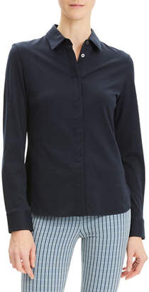 Theory Button-Down Fitted Pima-Cotton Shirt