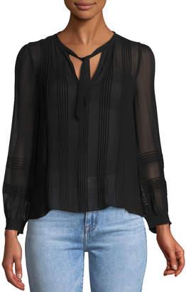 Rebecca Taylor Long-Sleeve V-Neck Chiffon Top