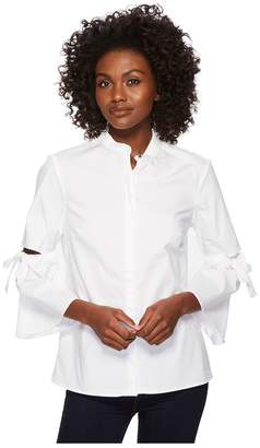 Ellen Tracy Poplin Shirt With Cut Out Sleeve Women's Clothing