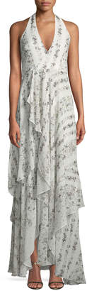 BCBGMAXAZRIA Halter-Neck Ruffled-Floral Maxi Dress