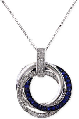 Effy Royale Bleu by Sapphire (1/3 ct. t.w.) and Diamond (1/4 ct. t.w.) Circle Pendant Necklace in 14K White Gold