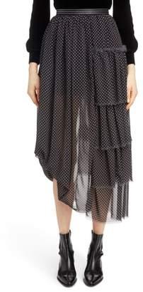 Loewe Polka Dot Asymmetrical Tiered Ruffle Skirt