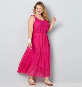 Avenue Plus Size Crinkly Gauze Lace Trimmed Maxi