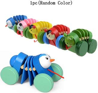 Sealive Walk-A-Long Caterpillars Wooden Pull Toy for Baby Toddlers,Wood Walking Kids Toys with Strings,Best Walk Along Balance Pull and Learn Educational Toy Playful Wooden Pull Toy for Beginner Walker